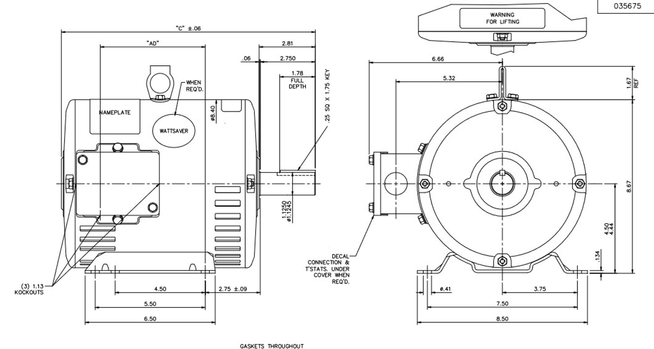 U1266 Marathon 1 1/2 hp 1200 RPM 230/460V 3-Phase 182T