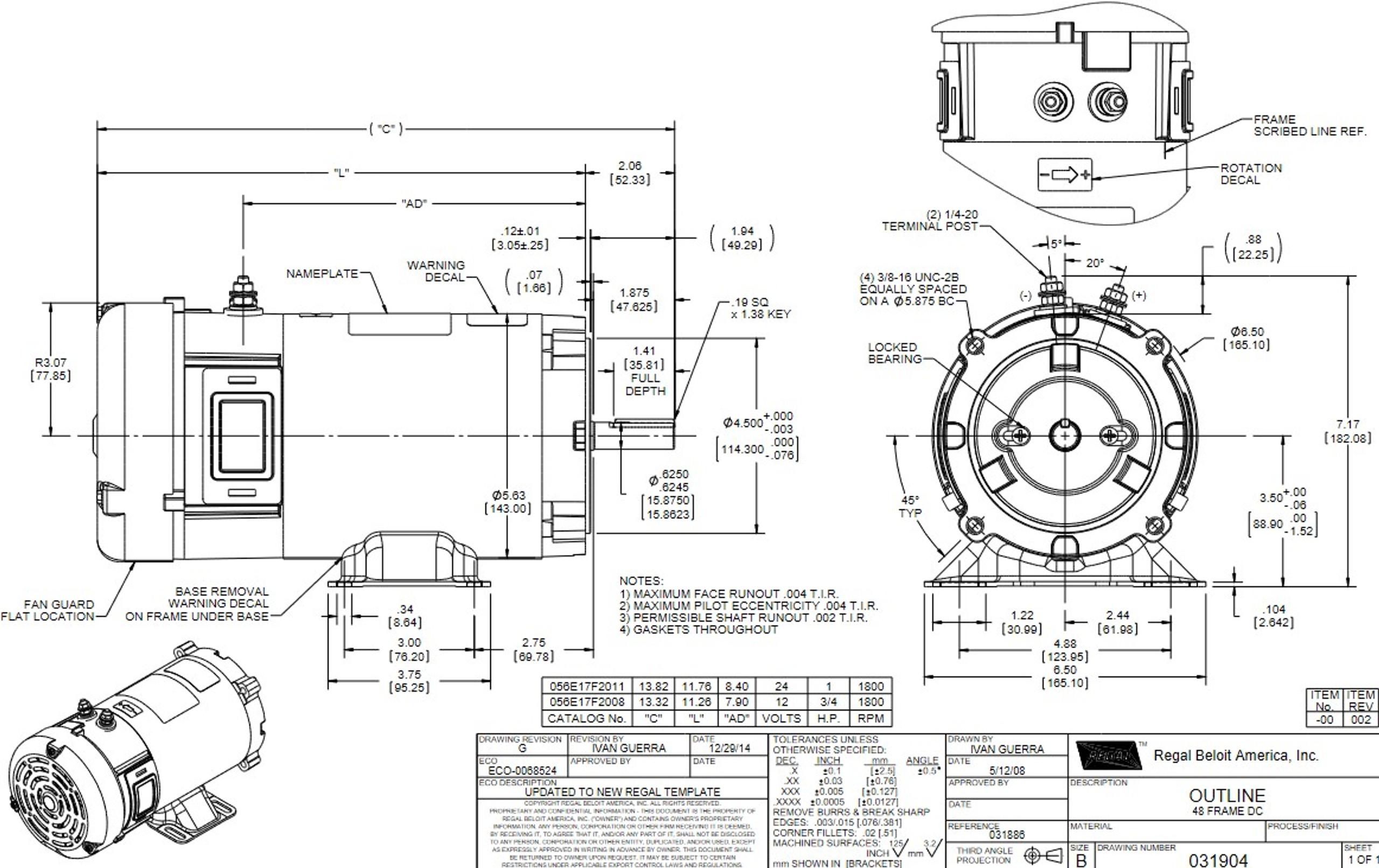 Z669 Marathon 1 hp 24 V DC 1750 RPM Perm. Magnet C-Face