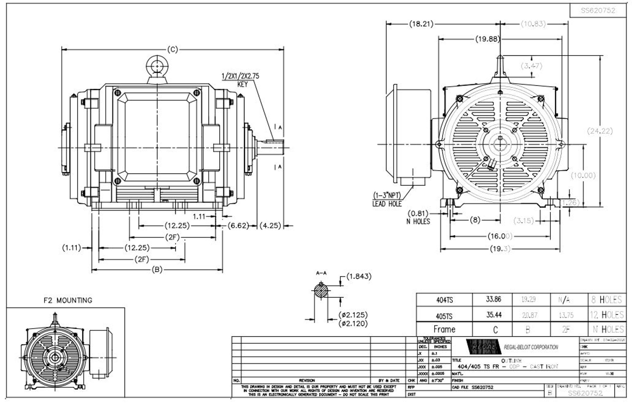 GT0051A Marathon 150 hp 3600 RPM 405TS Frame 460V Open