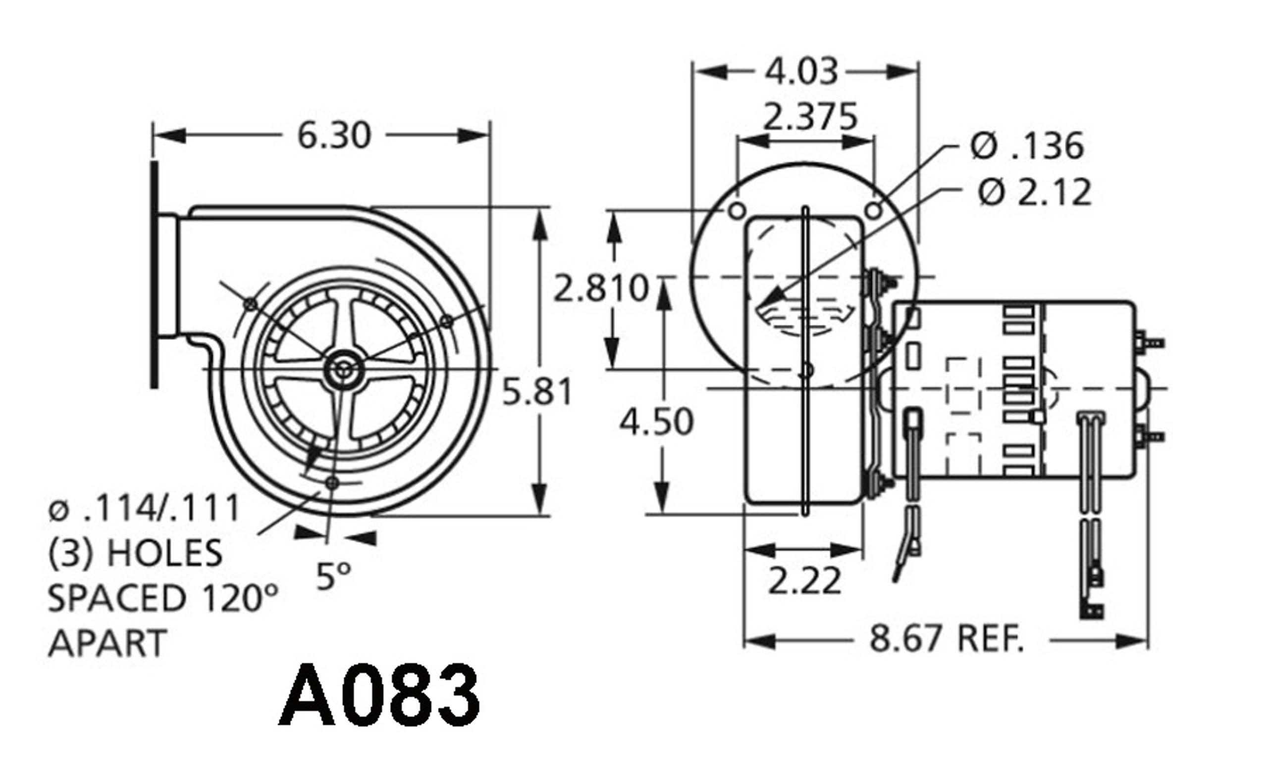Fasco A083 York Centrifugal Blower 230 Volts