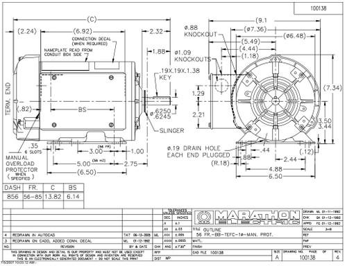 1.5 hp 1725 RPM 56H Frame TEFC (Farm Duty)115/208-230V