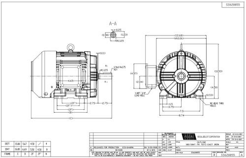 5 hp 1800 RPM 184T Frame 230/460V TEFC Marathon Electric