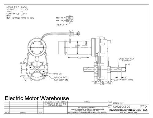 Klauber RV Slide Out Motor # K01250C600
