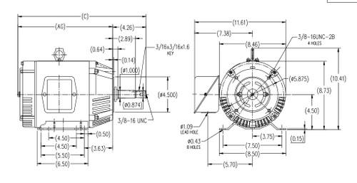 1 hp 1200 RPM 143JP Frame 230//460V ODP Marathon Close Coupled Pump Motor # GT2402
