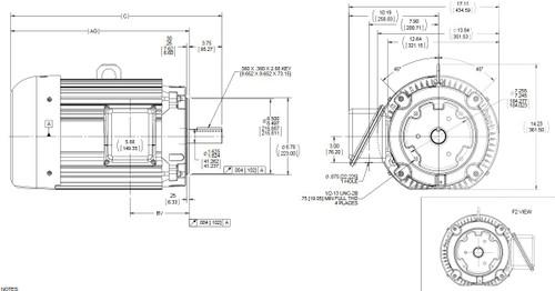 C227B Marathon 15 hp 1800 RPM 3-Phase 254TC Frame TEFC (no base) 230/460V Marathon Motor