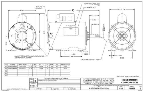 FD32CA1P14 Nidec | 1.5 hp 3600 RPM 143TZ 115/230V Aeration Fan Motor