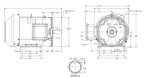 1 1/2 hp 1200 RPM 3-Phase 182TC Frame TEFC (rigid base) 230/460V Marathon Motor # GT1205A