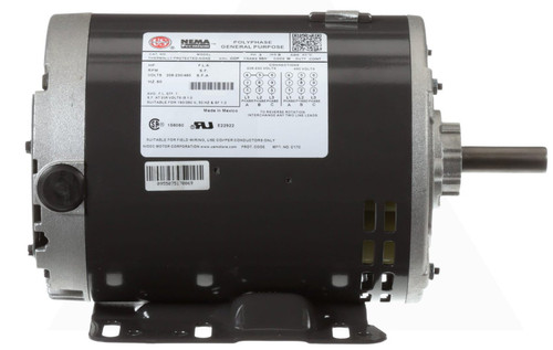 D2P2DHZ Nidec | 2 hp 1800 RPM 56HZ Frame 208-230/460V Open Drip Nidec Electric Motor
