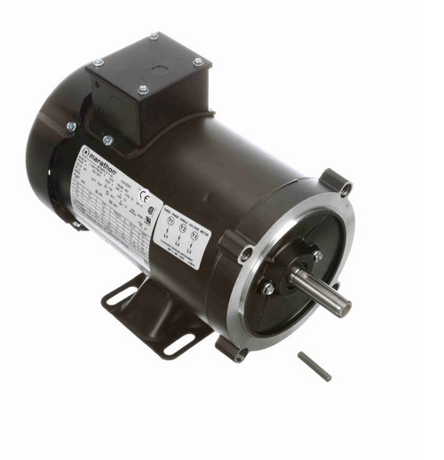 1 hp 1800 RPM 3-Phase 56C Frame TEFC (rigid base) 230V Marathon Motor # Y508
