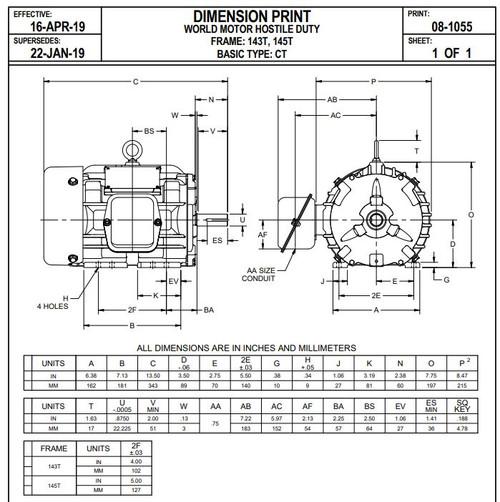 1 hp 1800 RPM 143T Frame 230/460V TEFC Nidec Electric