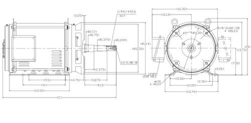 GT2460  Marathon 15 hp 1200 RPM 3-phase, 284JP Frame (Rigid Base) ODP 230/460V Close Coupled Pump Motor