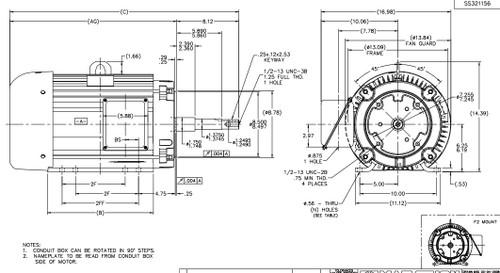 U345B 15 hp Marathon 3600 RPM 230/460V 3 phase 254JP Frame (Rigid Base) TEFC Close Coupled Pump Motor