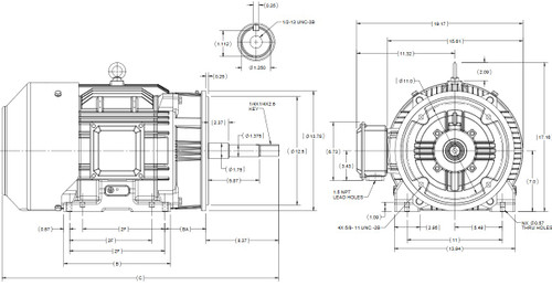 GT3426A 20 hp Marathon 1200 RPM 230/460V 3 phase 286JP Frame (Rigid Base) TEFC Close Coupled Pump Motor