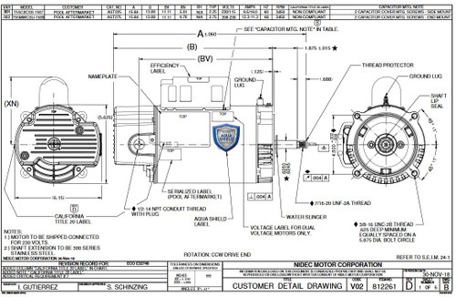 AST275 US Motors 2 1/2 hp 3450 RPM 56J 208-230V Pool Pump Motor