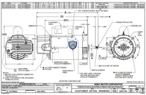 ACT125 US Motors 1 1/4 hp 3450 RPM 56J 115/230V Pool Pump Motor