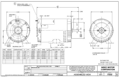 EH281 US Motors 1/2 hp 3450 RPM 56C 208-230V/460 (ODP) 3-Phase Pool Pump Motor