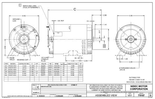 EH450 US Motors 3/4 hp 3450 RPM 56C 208-230V/460 (ODP) 3-Phase Pool Pump Motor