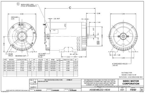 EH513 US Motors 1 hp 3450 RPM 56C 208-230V/460 (ODP) 3-Phase Pool Pump Motor