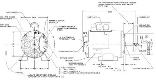 EV115 US Motors 1/15 hp 1725 RPM 48 Frame 115V Thru-Bolt Spa Motor