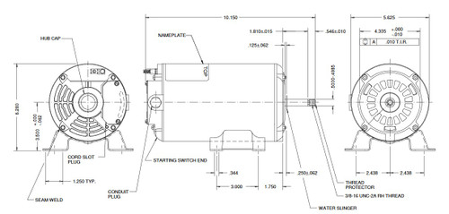AGL50FL1 US Motors 1/2 hp 3450 RPM 48 Frame 115V Thru-Bolt Pool-Spa Motor
