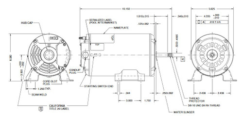 AGL75FL1 US Motors 3/4 hp 3450 RPM 48 Frame 115V Thru-Bolt Pool-Spa Motor