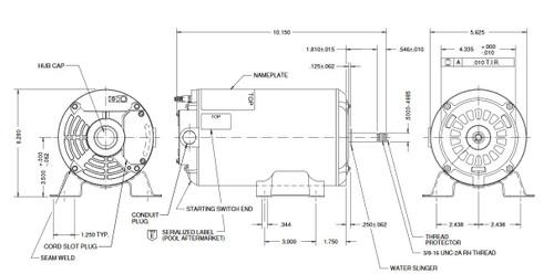 AGH75FL1 US Motors 3/4 hp 3450 RPM 48 Frame 230V Thru-Bolt Pool-Spa Motor