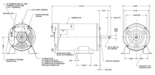 AGH10FL1 US Motors 1 hp 3450 RPM 48 Frame 230-240V Thru-Bolt Pool-Spa Motor