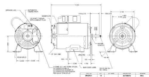 SPH25FL1 US Motors 2 1/2 hp 3450 RPM 48 Frame 230V Thru-Bolt Pool-Spa Motor
