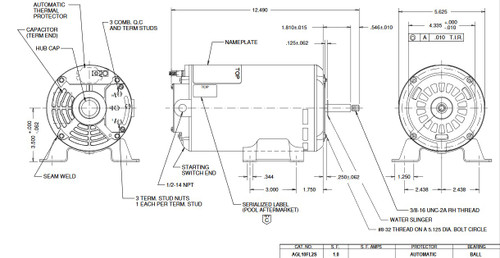 AGL10FL2 US Motors 1 hp 3450/1725 RPM 48 Frame 115V Thru-Bolt Pool-Spa Motor
