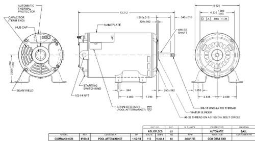 AGL15FL2CS US Motors 1 1/2 hp 3450/1725 RPM 48 Frame 115V Thru-Bolt Pool-Spa Motor