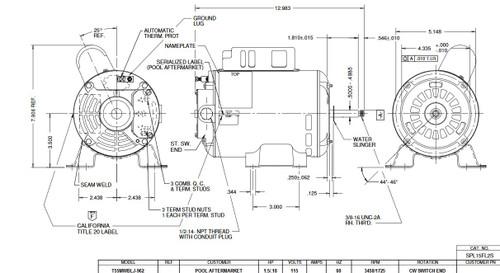 SPL15FL2S US Motors 1 1/2 hp 3450/1725 RPM 48 Frame 115V Thru-Bolt Pool-Spa Motor