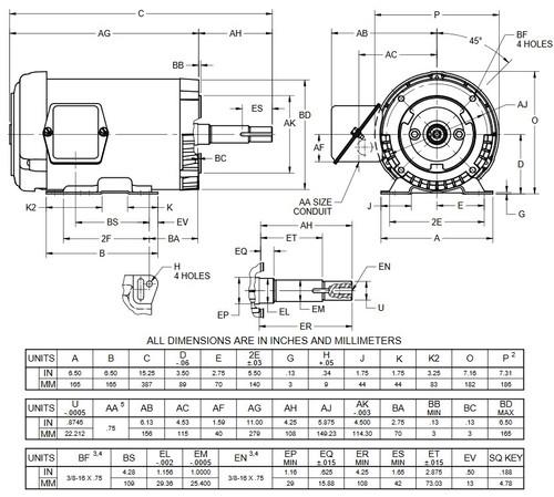UJ1P2DM US Motors 1 hp 1800 RPM  3-phase 143JM Frame 208-230/460V Close-Coupled Pump Motor
