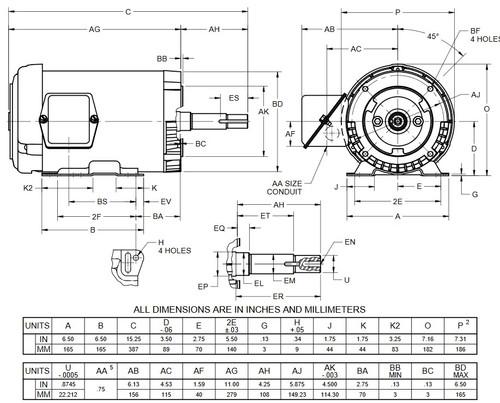 UJ32P2DM US Motors 1 1/2 hp 1800 RPM  3-phase 143JM Frame 208-230/460V Close-Coupled Pump Motor
