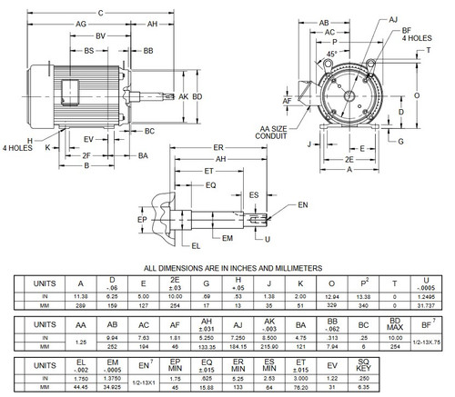 UJ15P1GM US Motors 15 hp 3600 RPM  3-phase 254JM Frame 575V Close-Coupled Pump Motor