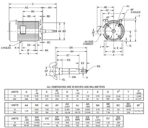 UJ15P2DM US Motors 15 hp 1800 RPM  3-phase 254JM Frame 208-230/460V Close-Coupled Pump Motor