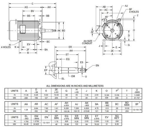 UJ15P2GM US Motors 15 hp 1800 RPM  3-phase 254JM Frame 575V Close-Coupled Pump Motor