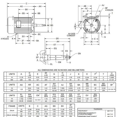 UJ20P2GM US Motors 20 hp 1800 RPM  3-phase 256JM Frame 575V Close-Coupled Pump Motor