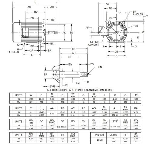UJ25P1DM US Motors 25 hp 3600 RPM  3-phase 284JM Frame 208-230/460V Close-Coupled Pump Motor