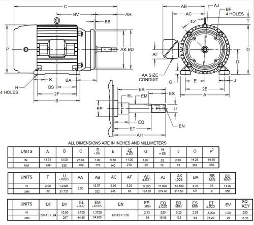 HJ25P1GM US Motors 25 hp 3600 RPM  3-phase 284JM Frame 575V Close-Coupled Pump Motor