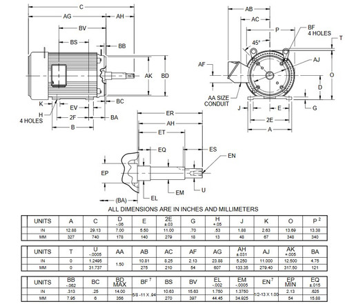 UJ25P2DM US Motors 25 hp 1800 RPM  3-phase 284JM Frame 208-230/460V Close-Coupled Pump Motor