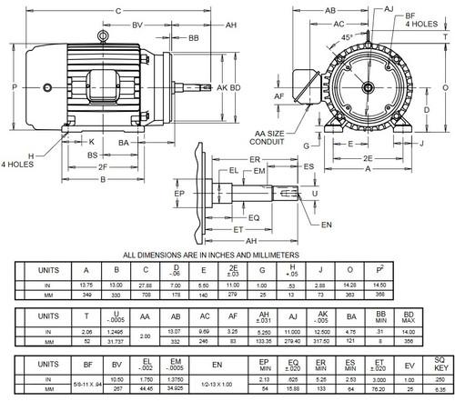 UJ25P2GM US Motors 25 hp 1800 RPM  3-phase 284JM Frame 575V Close-Coupled Pump Motor
