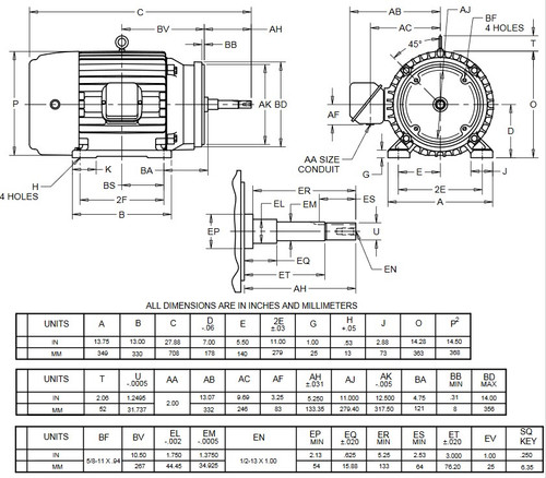 HJ30P1BM US Motors 30 hp 3600 RPM  3-phase 286JM Frame 230/460V Close-Coupled Pump Motor