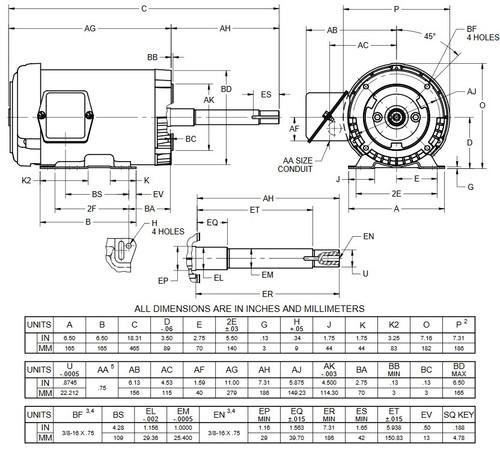 UJ2P1DP US Motors 2 hp 3600 RPM  3-phase 143JP Frame 208-230/460V Close-Coupled Pump Motor