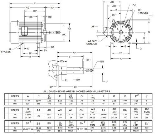 UJ25P1DP US Motors 25 hp 3600 RPM  3-phase 284JP Frame 208-230/460V Close-Coupled Pump Motor