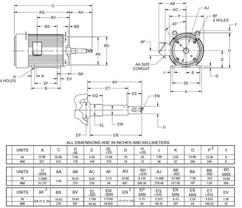UJ30P2DP US Motors 30 hp 1800 RPM  3-phase 286JP Frame 208-230/460V Close-Coupled Pump Motor