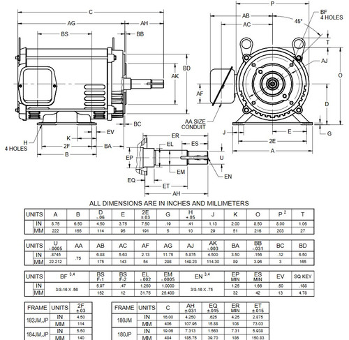 DJ32P3DM US Motors 1 1/2 hp 1200 RPM  3-phase 182JM Frame 208-230/460V (ODP) Close-Coupled Pump Motor