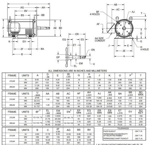 DJ10P1HM US Motors 10 hp 3600 RPM  3-phase 213JM Frame 200V (ODP) Close-Coupled Pump Motor