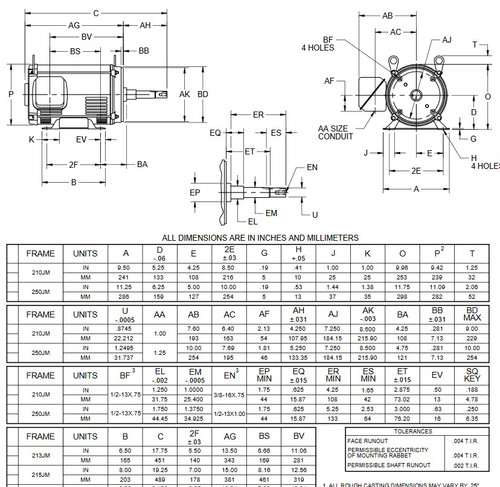 DJ10P1DM US Motors 10 hp 3600 RPM  3-phase 213JM Frame 208-230/460V (ODP) Close-Coupled Pump Motor