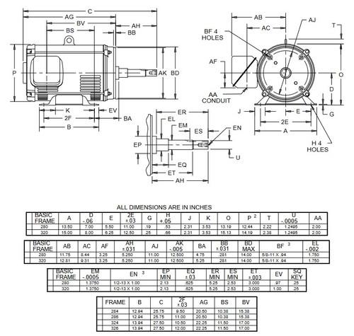 DJ30P1DM US Motors 30 hp 3600 RPM  3-phase 284JM Frame 208-230/460V (ODP) Close-Coupled Pump Motor