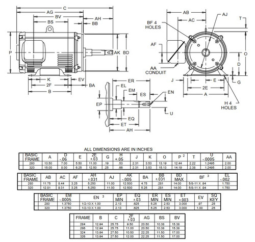 DJ40P1DM US Motors 40 hp 3600 RPM  3-phase 286JM Frame 208-230/460V (ODP) Close-Coupled Pump Motor